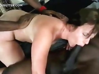 Threesome with 2 blacks for that brunette with a big ass xxxbucker brunette