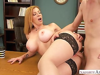BIG BOOBS AT HARD WORK xxxbucker blonde