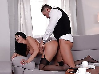 Black Stockings, KIRA QUEEN Gets Hard Fucking on Sofa xxxbucker brunette