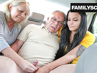 Mother and Daughter Taking Care of Grandpa's Needs xxxbucker blowjob