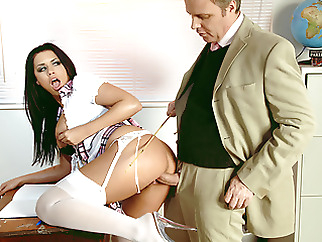 Teacher Seduces Big Clit and Tits Schoolgirl Eva for Rough Sex xxxbucker blowjob